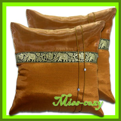 2 THAI SILK CUSHION PILLOW COVER ELEPHANT BROWN / 1128