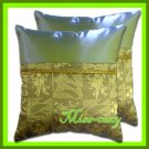 2 THAI SILK CUSHION CASE PILLOW COVER GREEN TWO-TONE / 1144