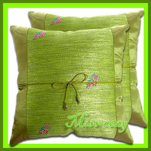 2 THAI SILK CUSHION CASE PILLOW COVER GREEN FLORAL / 1153