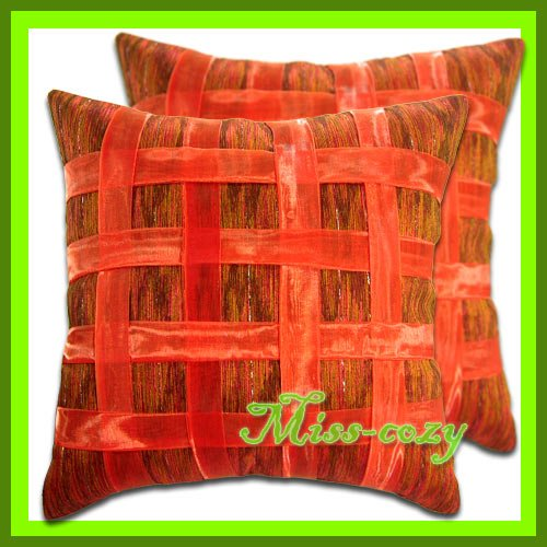 2 THAI SILK CUSHION CASE PILLOW COVER ORANGE RIBBON / 1167