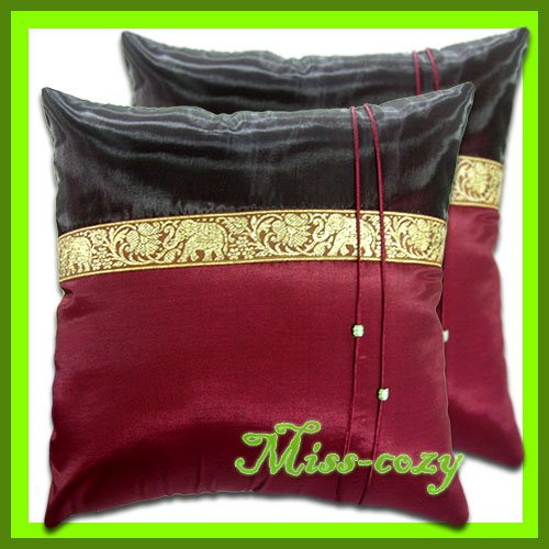 2 THAI SILK CUSHION PILLOW COVER ELEPHANT MAROON / 1130