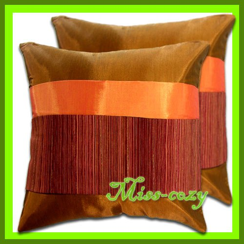 2 THAI SILK CUSHION CASE PILLOW COVERS BROWN/ORANGE / 1185