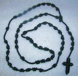 Dark Blue Knot Rosary - Handmade of Nylon Cord - FREE Shipping to U.S. and Canada