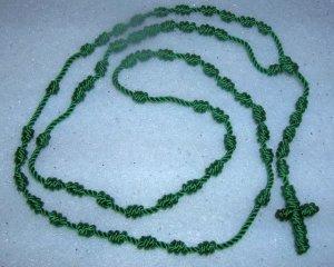 Green Knot Rosary -  Handmade of Nylon Cord