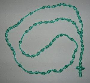 Mint Green Knot Rosary - (Light Green)- Handmade of Nylon Cord