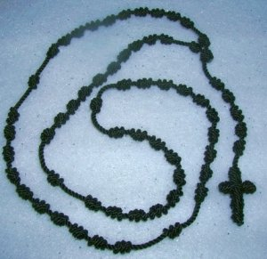Black Knot Rosary - Handmade of Nylon Cord