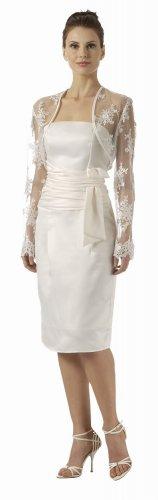 White Bolero Jacket Lace Embroider Long Sleeve Wedding Bolero Jacket | DiscountDressShop.com 2788PO
