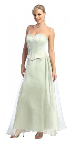 Sage Bridesmaid Dress Discount Strapless Formal Sage Prom Dress | DiscountDressShop.com 854NX