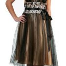Cheap Black Gold Bridemaid Dress Chiffon Embroidery Cocktail Dress | DiscountDressShop.com 057CD