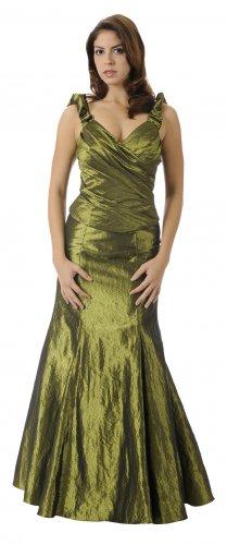 Long Formal Olive Bridesmaid Dress Taffeta Olive Prom Gown Olive | DiscountDressShop.com 2826PO
