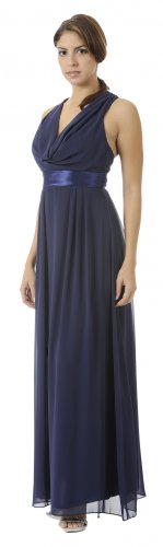 Formal Navy Bridesmaid Dress Chiffon Navy Long Gown Empire Waist | DiscountDressShop.com 2862PO