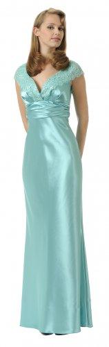 Sea Mist Bridesmaid Dress Long Formal Gown Lace Cap Sleeves Cheap   DiscountDressShop.com 2918PO