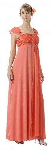 Cheap Cap Sleeve Orange Full Length Formal Dress Orange Prom Dress | DiscountDressShop.com 2928PO
