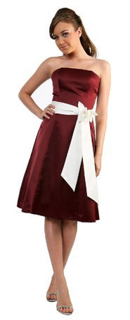 Burgundy Bridesmaid Dress Short Knee Length Strapless Gown With Bow | DiscountDressShop.com 5044CD