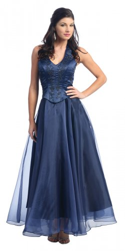 Discount Navy Bridesmaid Gown Halter Navy Formal Prom Dress Navy | DiscountDressShop.com 824NX