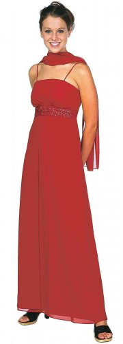 Discount Red Bridesmaid Dress Empire Waist With Rhinestones Red Gown | DiscountDressShop.com 1954JU