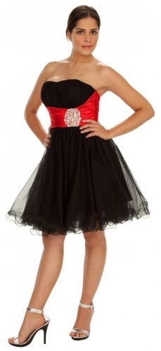 Black Red Cocktail Dress Tulle Strapless Short Dress