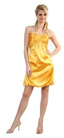 Yellow Cocktail Dress Yellow Bubble Dress Strapless Short Party Prom | DiscountDressShop.com 032CD