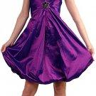 Purple Cocktail Dress Cheap Satin Purple Bubble Strapless Prom dress | DiscountDressShop.com 044CD