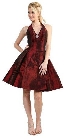 Discount Brown Cocktail Dress Short Halter Burgundy Satin Prom Dress | DiscountDressShop.com 069CD
