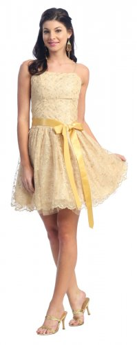Discount Gold Cocktail Dress With Bow Tie Ribbon Short Gold Dress | DiscountDressShop.com 1014NX