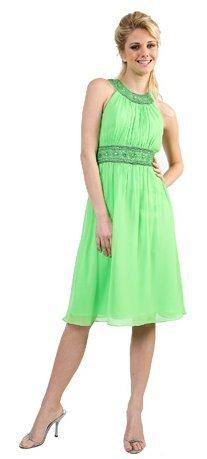 Party Prom Short Lime Green Cocktail Dress Chiffon Beaded Chocker   DiscountDressShop.com 161CD
