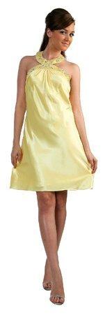 Knee Length Satin Yellow Or Mauve Cocktail Dress Cocker Neckline   DiscountDressShop.com 163CD