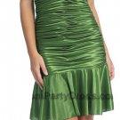 Olive Green Cocktail Dress Satin Low V Neckline Ruffled Skirt Olive | DiscountDressShop.com 2109NX