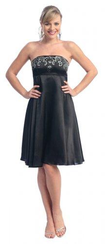 Cheap Strapless Black Cocktail Dress Short Black Bridesmaid Gown   DiscountDressShop.com 2110NX