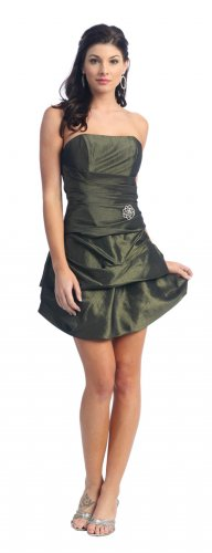 Cheap Strapless Olive Cocktail Bubble Dress Short Olive Prom Dress | DiscountDressShop.com 2111NX