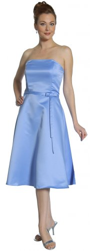 Cheap Periwinkle Bridesmaid Dress Formal A-Line With Bow Prom Dress | DiscountDressShop.com 2153JU