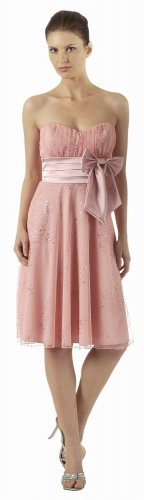 Dusty Rose Cocktail Dress Cheap Knee Length Strapless Dress With Bow | DiscountDressShop.com 2840PO