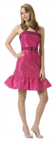 Cheap Short Taffeta Fuchsia Cocktail Dress Knee Length Gown with Bow | DiscountDressShop.com 2870PO