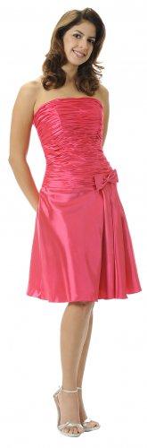 Short Fuchsia Cocktail Dress Strapless Prom Gown knee Length Bow | DiscountDressShop.com 5633PO