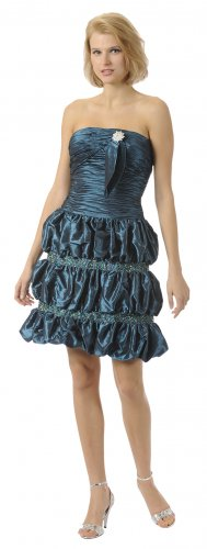 Short Teal Bubble Dress Cocktail Teal Party Strapless Taffeta Gown | DiscountDressShop.com 5692PO