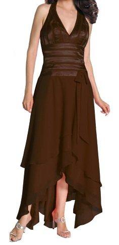 Formal Dress Brown Halter Dress With Double Layer Skirt Formal Dress | DiscountDressShop.com 1040JU