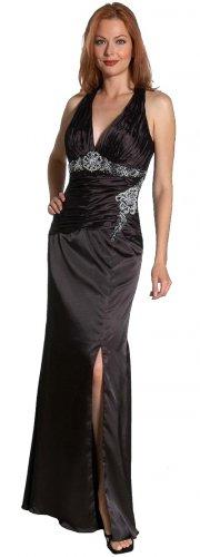 Black Halter With Open Front Slit Formal Dress Black Prom Gown Black   DiscountDressShop.com 1043JU