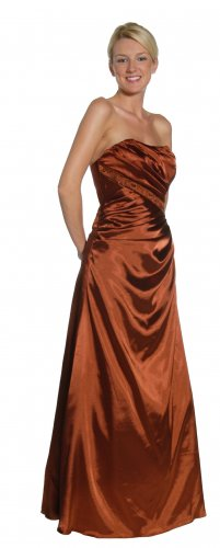 Brown Prom Dress Bridesmaid Strapless Pleat Formal Brown Homecoming | DiscountDressShop.com 1051JU