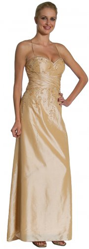 Sexy Gold Spaghetti Strap Dress With Sequences Formal Prom Gold Gown | DiscountDressShop.com 1056JU