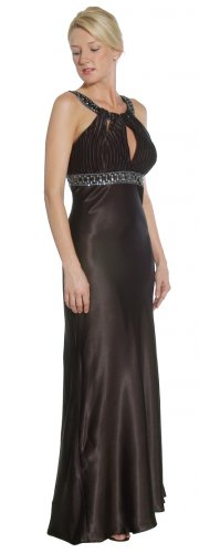 Black Formal Dress Round Jeweled Neckline Prom Homecoming Dress   DiscountDressShop.com 1062JU
