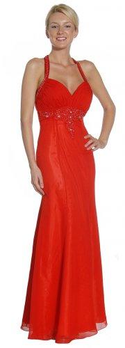 Cheap Sweetheart Neckline Red Formal Dress Halter Red Prom Dress   DiscountDressShop.com 1068JU