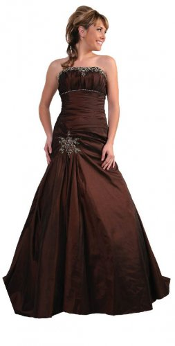 Brown Formal Dress Strapless With Rhinestones Prom Homecoming Plus | DiscountDressShop.com 149CD