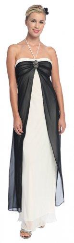 Ivory Black Formal Evening Dress Prom Dress Ivory Bridesmaid Dress | DiscountDressShop.com 1944L-CE