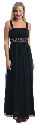 Formal Evening Dress Black Empire Waist Black Bridesmaid Dress Prom   DiscountDressShop.com 2039L-CE