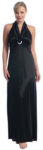 Cheap Black Formal Dress Halter Style Prom Dress Black Evening Dress | DiscountDressShop.com 2058CE