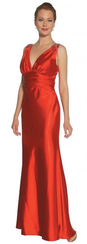 Discount Red Formal Dress Long V Neck With Shoulder Tassles Red Gown | DiscountDressShop.com 2126JU