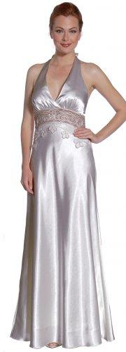 Silver Bridesmaid Dress Halter Lace Waist Silver Formal Dress Silver | DiscountDressShop.com 2133JU