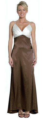 Long Brown Dress With V Neck Ivory Top Formal Brown Dress 2 Tone | DiscountDressShop.com 2154JU