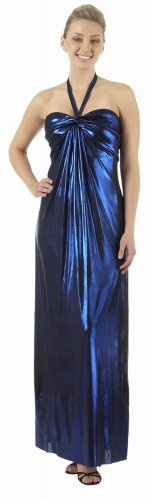 Royal Metallic Blue Long Dress V Neck Strap Foil Royal Formal Dress | DiscountDressShop.com 2812PO