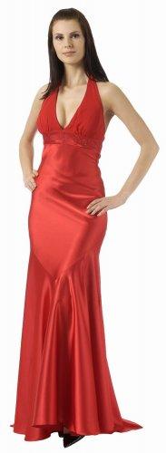 Red Formal Evening Dress Halter Red Prom Dress Chiffon Charmeuse   DiscountDressShop.com 2846PO